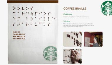 Braille menukaart Starbucks